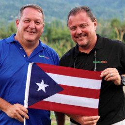 Two men and a flag