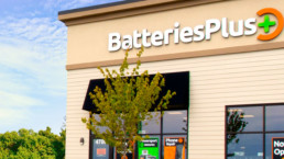 Exterior shot of a Batteries Plus being an essential business