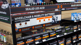 Isle in store showing wheelchair and mobility batteries