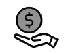 hand holding up coin icon