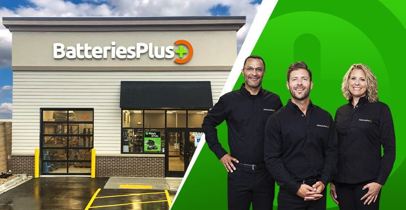 Batteries Plus storefront and three employees smiling