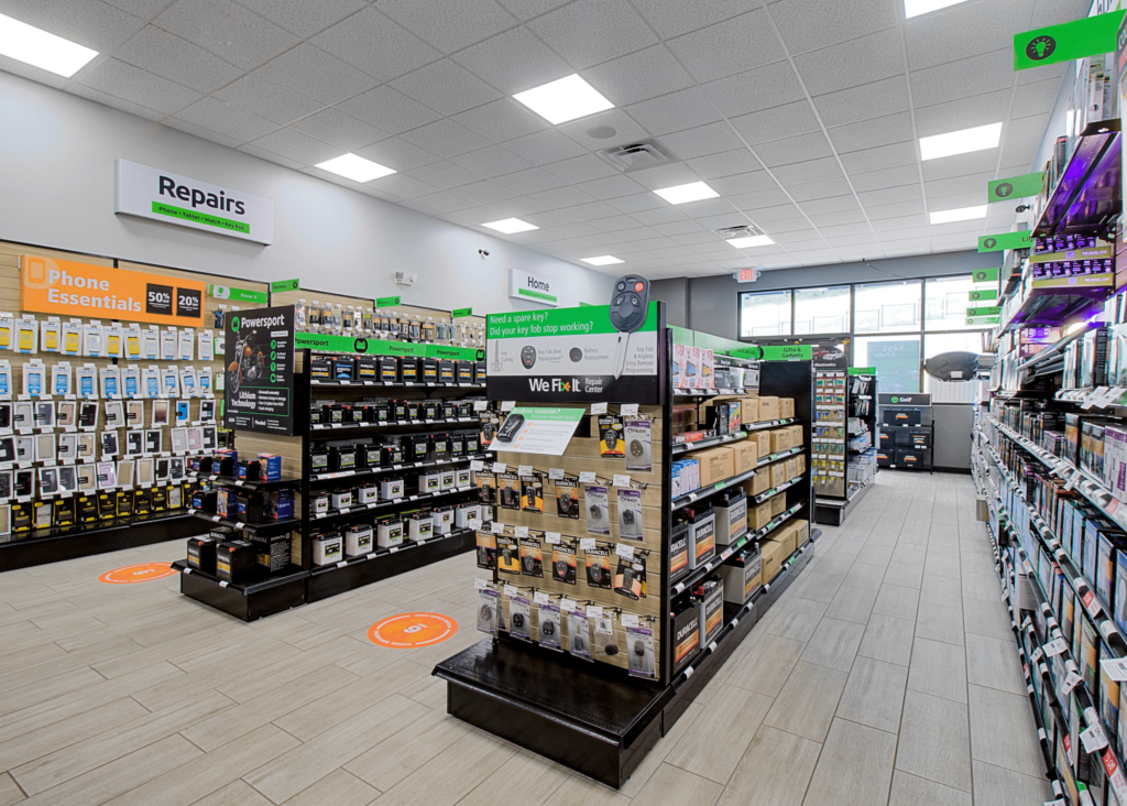 Aisles of product in a Batteries Plus store