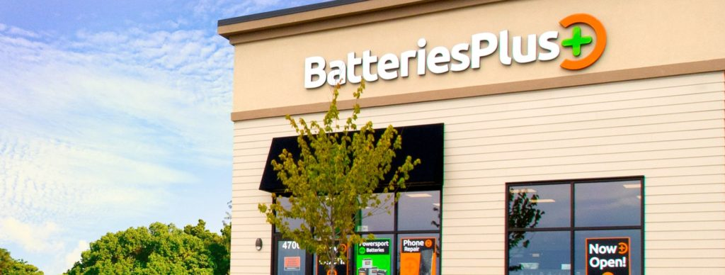 Batteries Plus storefront in the sun