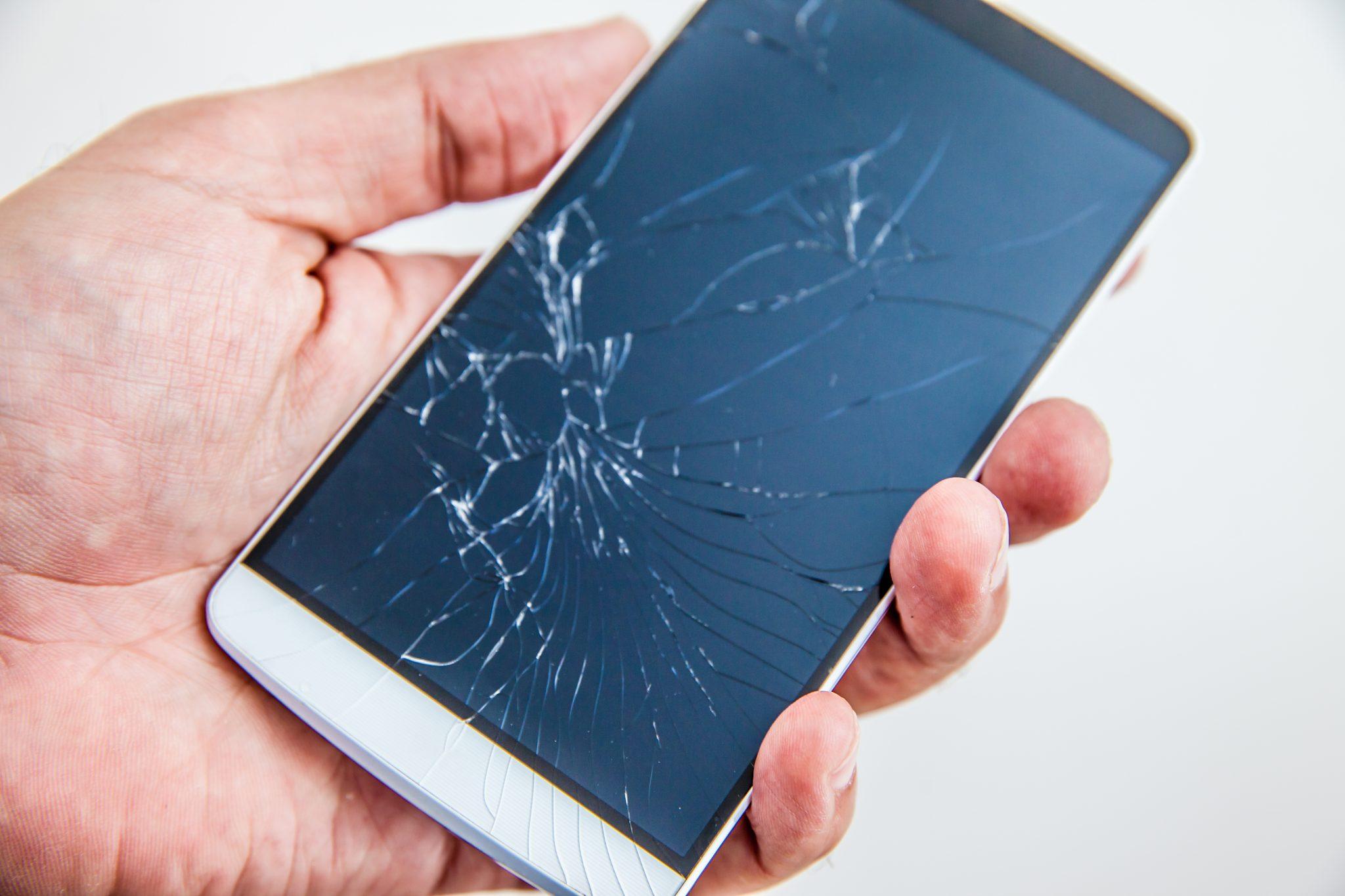 Broken screen glass of a smartphone