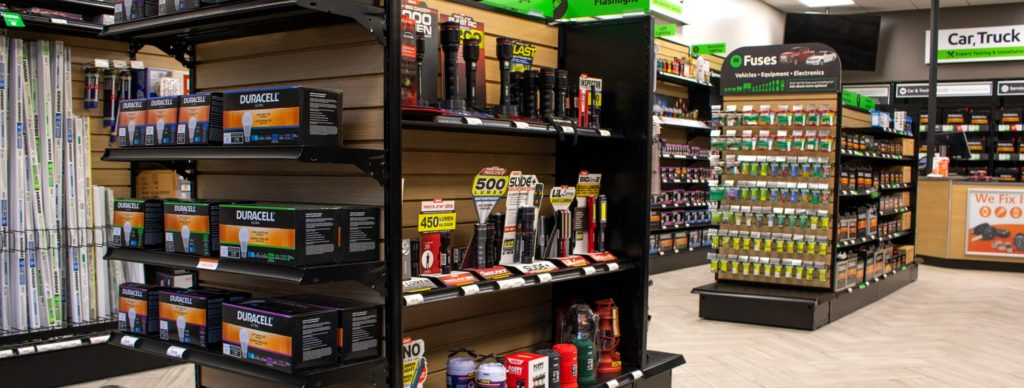 Batteries and assorted goods placed on shelves in a Batteries Plus store